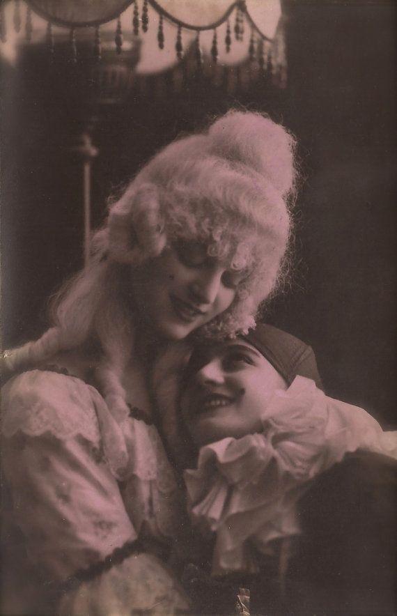The Lesbian Pierrots, Lot of 3 Vintage 1920s Art Deco Italian Photo Postcards Romantic Commedia Dell'Arte Couple, Original Rare Used in 1925