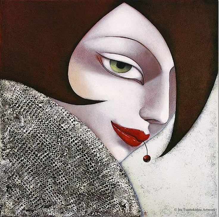 Kirsche by Ira Tsantekidou. Oil on Canvas (Serie La Femme Fatale).