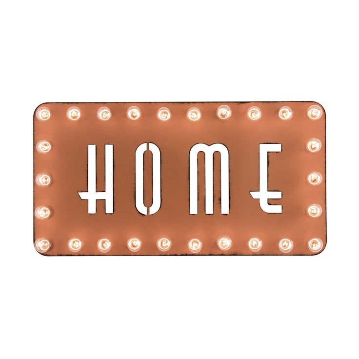 There's no place quite like home, so celebrate your beloved safe zone with this sleek HOME Marquee Sign. Cool, contemporary lettering and rusted metal construction make this piece extra chic. Warm an e...  Find the HOME2 Marquee Sign, as seen in the Countdown to Sputnik Style Collection at http://dotandbo.com/collections/countdown-to-sputnik-style?utm_source=pinterest&utm_medium=organic&db_sku=DBIMRQ-55