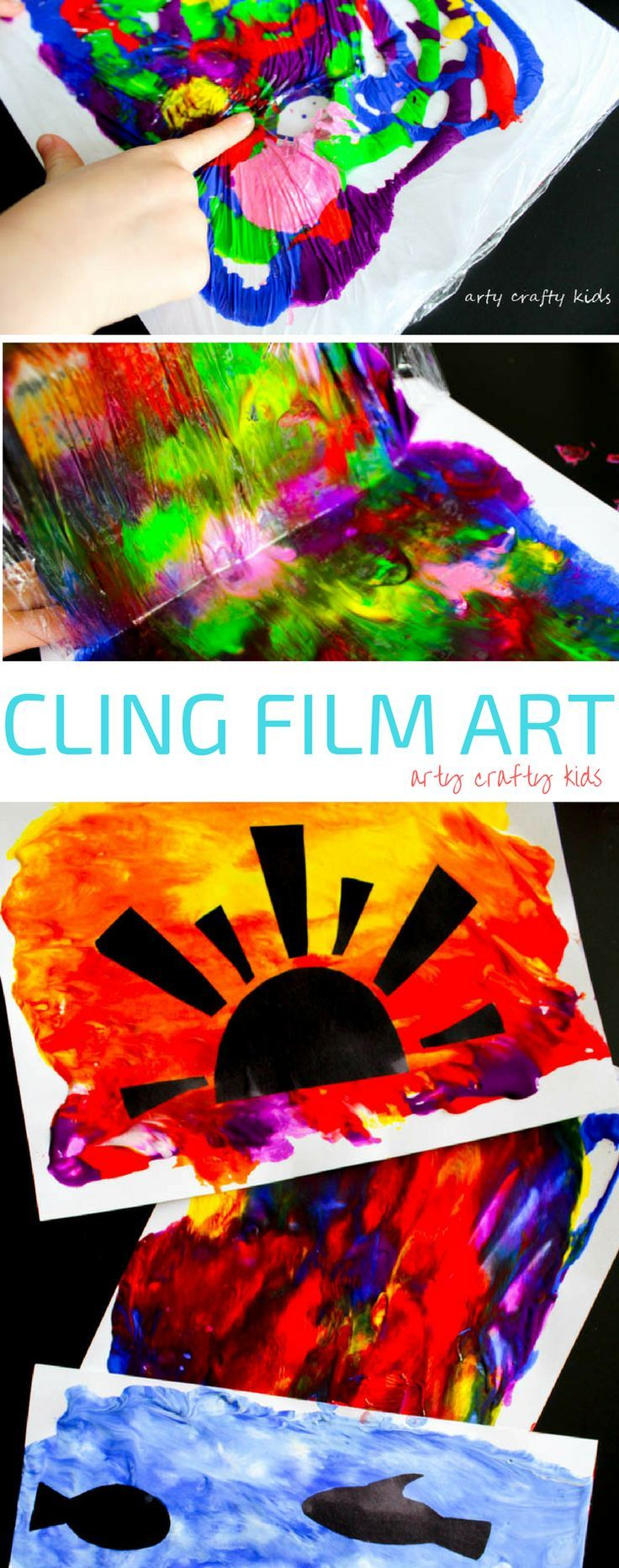 Arty Crafty Kids | Art | Cling Film Art | A fun art idea for kids that great for colour mixing and mess free sensory art.