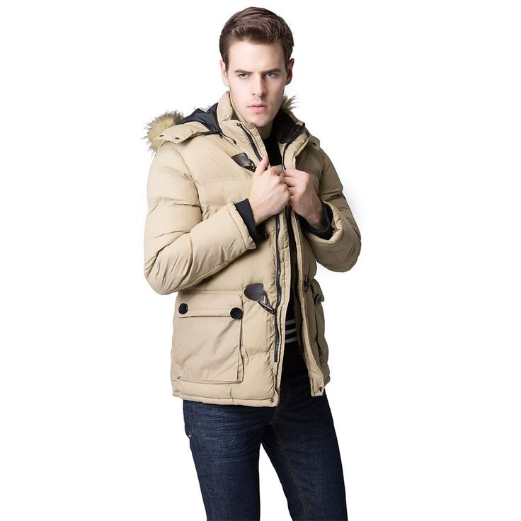 Fashion Winter Men Parka Faux Fur Collar Hooded Thick Warm Sales Online camel l - Tomtop.com