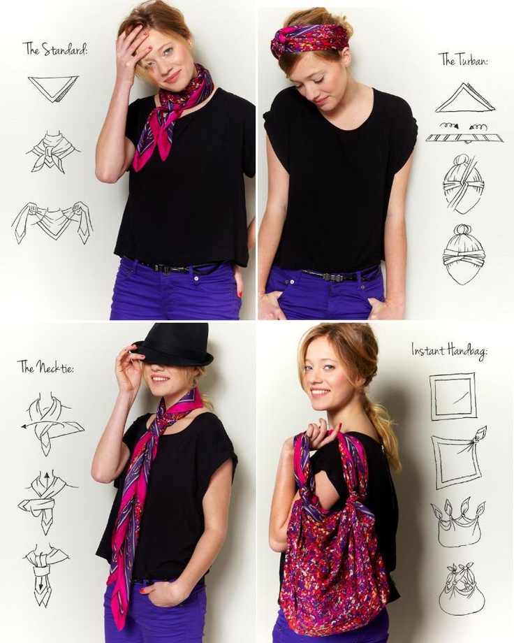 How to wear a square scarf...thanks, Target!  The instant handbag one is super.