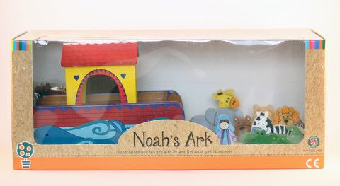 Noah's Ark' Wooden Toy Set - Complete with 7 pairs of animals! - Cadeaux.ie