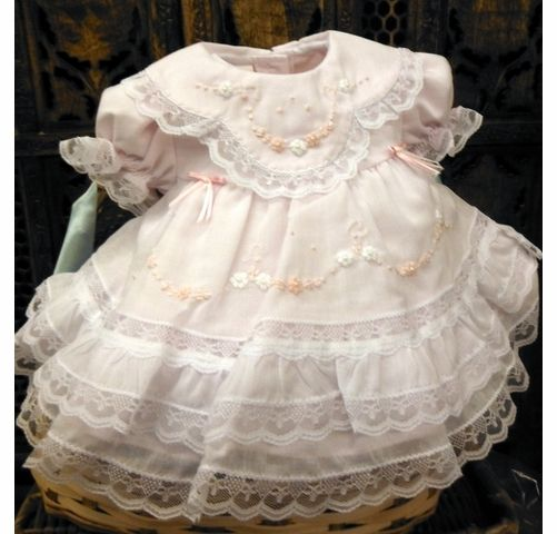 582c7498b NEW Will'Beth Pink Baby Dress with Lace, Ribbons, Embroidery, and Seed  Pearls
