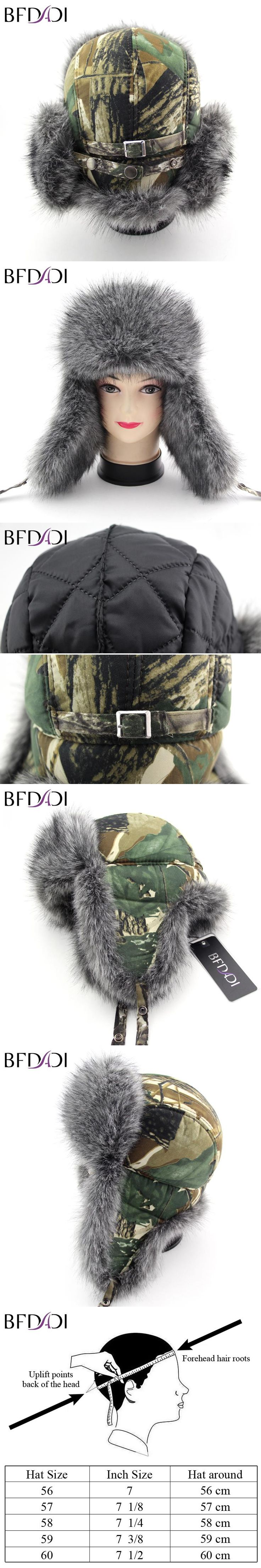 BFDADI 2017 Bomber Camouflage Cap Winter Trapper Hats Faux Fur Windproof Winter Snow Hat Ear Flaps Russian Military Caps
