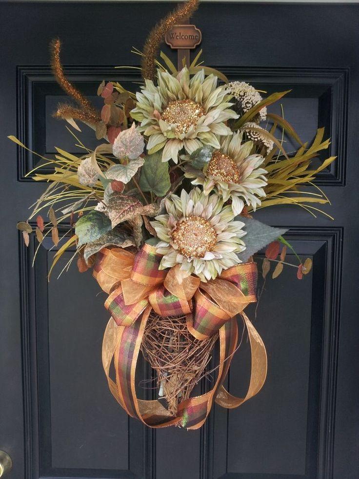 "Large Fall Grapevine Door Wall Wreath Swag Gorgeous Arrangement 33"" HANDMADE #Handmade"