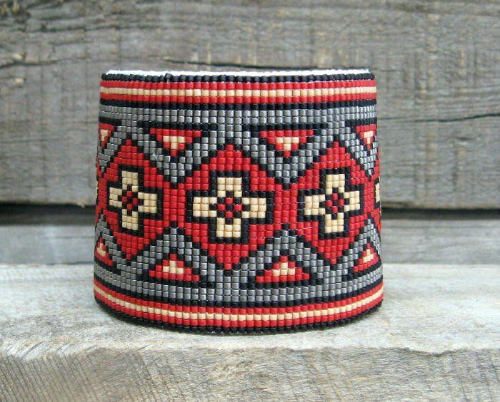 .Southwestern Beaded Cuff Bracelet 2607