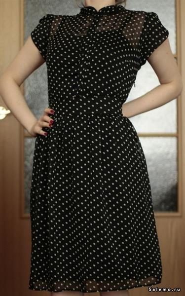 Платье в горошек из шифона