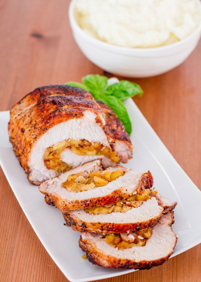 Caramelized Pork Loin is stuffed with caramelized apples, the pork loin is then seared to get a nice and crispy exterior and then roasted to perfection.