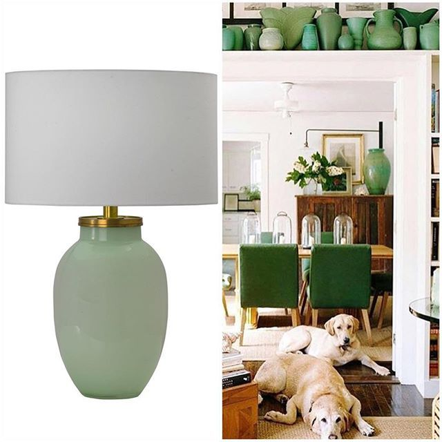 Green everywhere 🍃get the look with our Celadon Glass with Brass Table Lamp