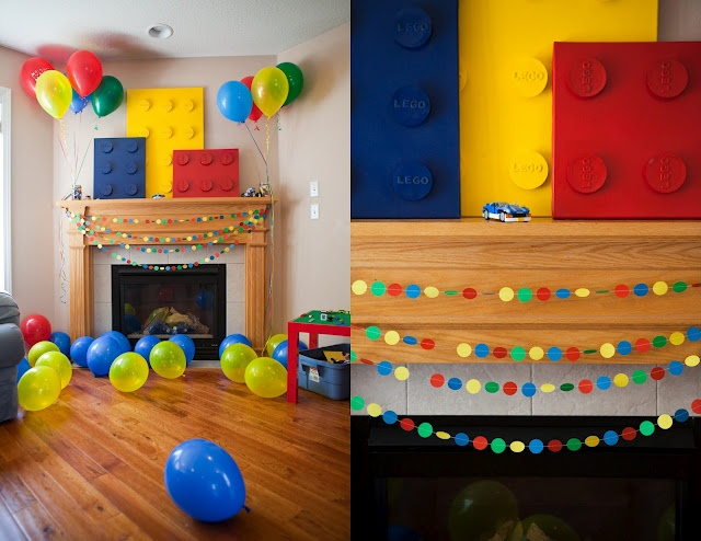 Simple Lego inspired party decor.  Also, more Lego inspired colorful foods for your party.  Homemade Serenity's got lots of photos and covered just about all the bases. #LegoDuploParty