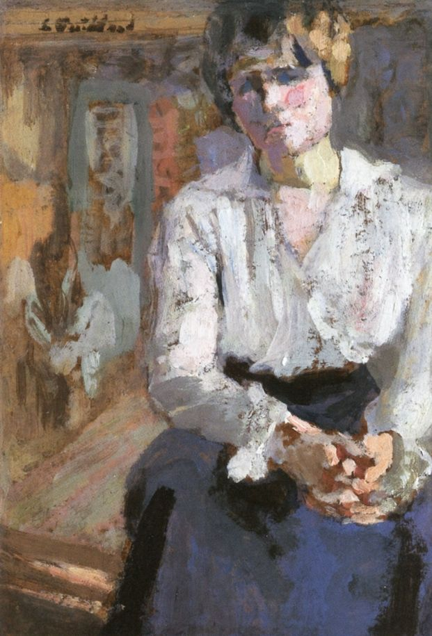 jean-édouard vuillard(1868–1940), seated woman with joined hands, 1916. oil on card on panel, 14.9 x 10.9 cm. private collection http://www.the-athenaeum.org/art/detail.php?ID=143319