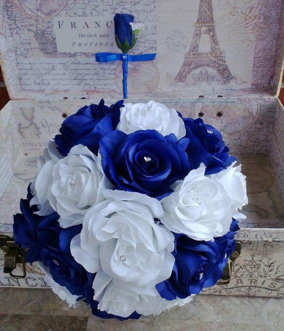 Royal Blue White Rose Bouquet, Royal Blue White Bouquet, White Blue Bouquet, Royal Blue White Bouquet, Horizon Blue Royal Blue Wedding by silkflowersbyjean. Explore more products on http://silkflowersbyjean.etsy.com
