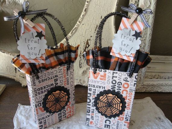 Halloween gift bag party favor candy container by PaperAndMache