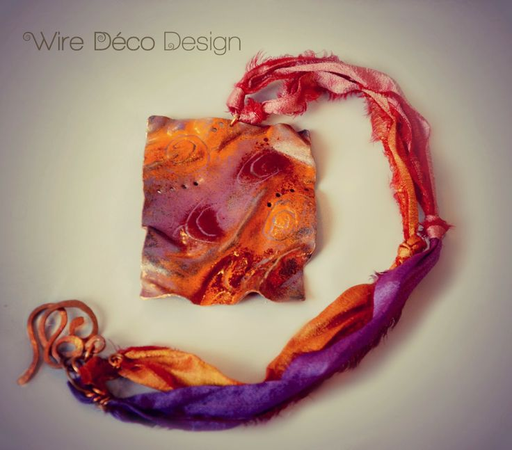 Necklace with Abstract Art pendant Fold-formed, enameled, drilled copper rectangle pendant strung on sari ribbon