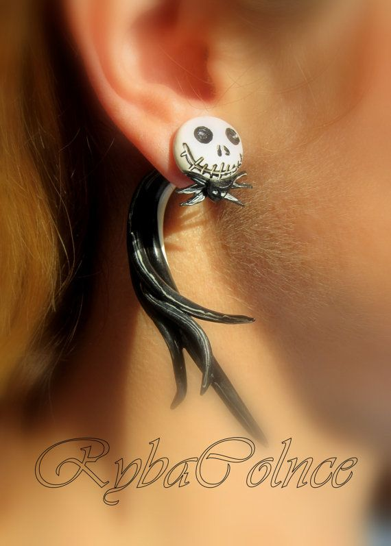 Nightmare Before Christmas Earrings/ Fake ear by RybaColnce