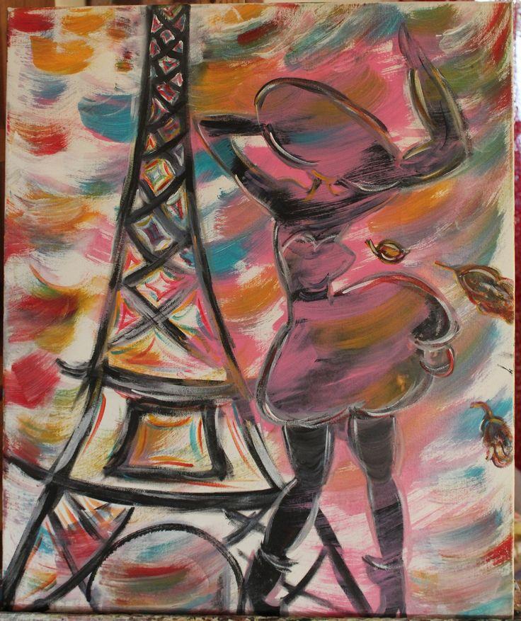 Tableau Abstrait Acrylique la Petite Parisienne Robe Noire 45 x 56 cms : Peintures par mimipeint