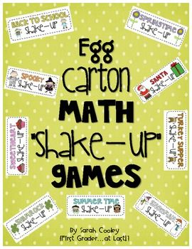 "Egg Carton Math ""Shake Up"" Games for addition and subtraction fact practice"