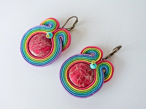 Multicolor soutache earring rainbow soutache by DalikaHandMade, €15.00