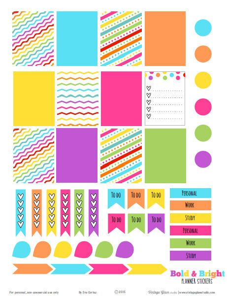 Free Bold & Bright Planner Stickers from Vintage Glam Studio. Sized for Erin…