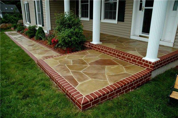 Stamped Concrete Diy Faux Flag Stone Minus The Brick