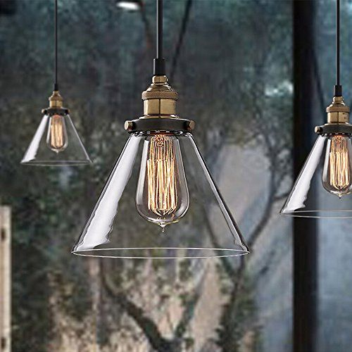 Buyee Modern Industrial Metal Glass Loft Pendant Lamp Retro Ceiling Light Vintage Lamp: Amazon.co.uk: Lighting