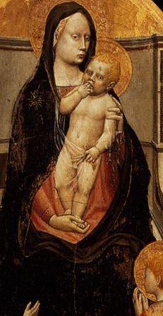 masaccio, détail de la vierge marie avec le christ  sur ses genoux