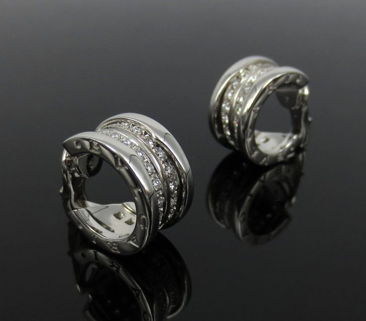 Estate Bulgari B Zero 1.20ct Diamond & 18K White Gold Hoop Earrings #Bulgari