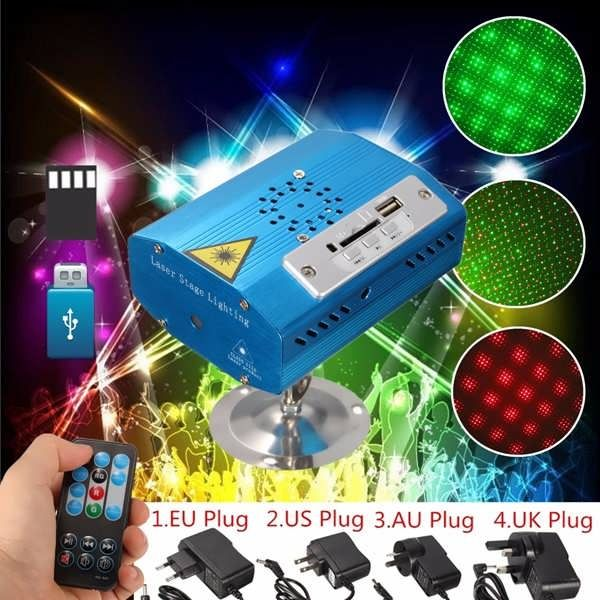 Mini R&G Laser Light SD USB Projector Disco Stage Xmas Dancing Party DJ Club Pub  Worldwide delivery. Original best quality product for 70% of it's real price. Buying this product is extra profitable, because we have good production source. 1 day products dispatch from warehouse. Fast...