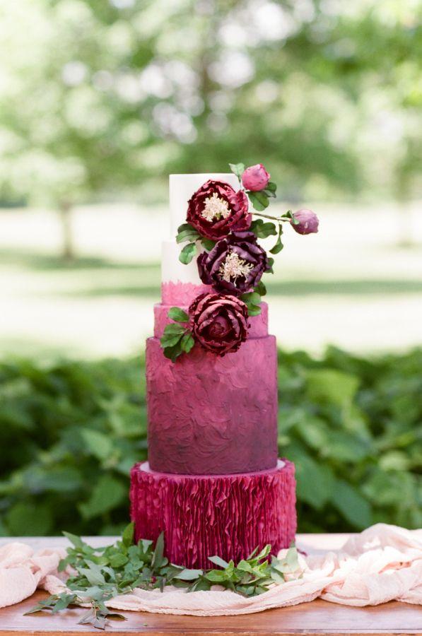 Ombre berry wedding cake: http://www.stylemepretty.com/2016/11/17/berry-wedding-color-ideas/ Photography: Tamara Gruner - http://tamaragruner.com/