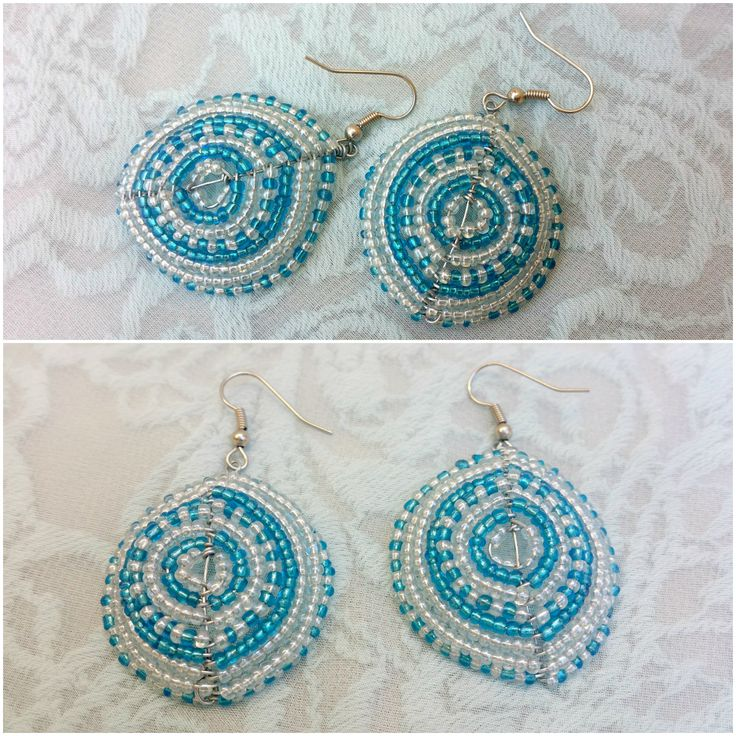 A pair of blue and clear seed bead earrings. Handmade by myself, Annalee Beer of EverAfter Artisanry.