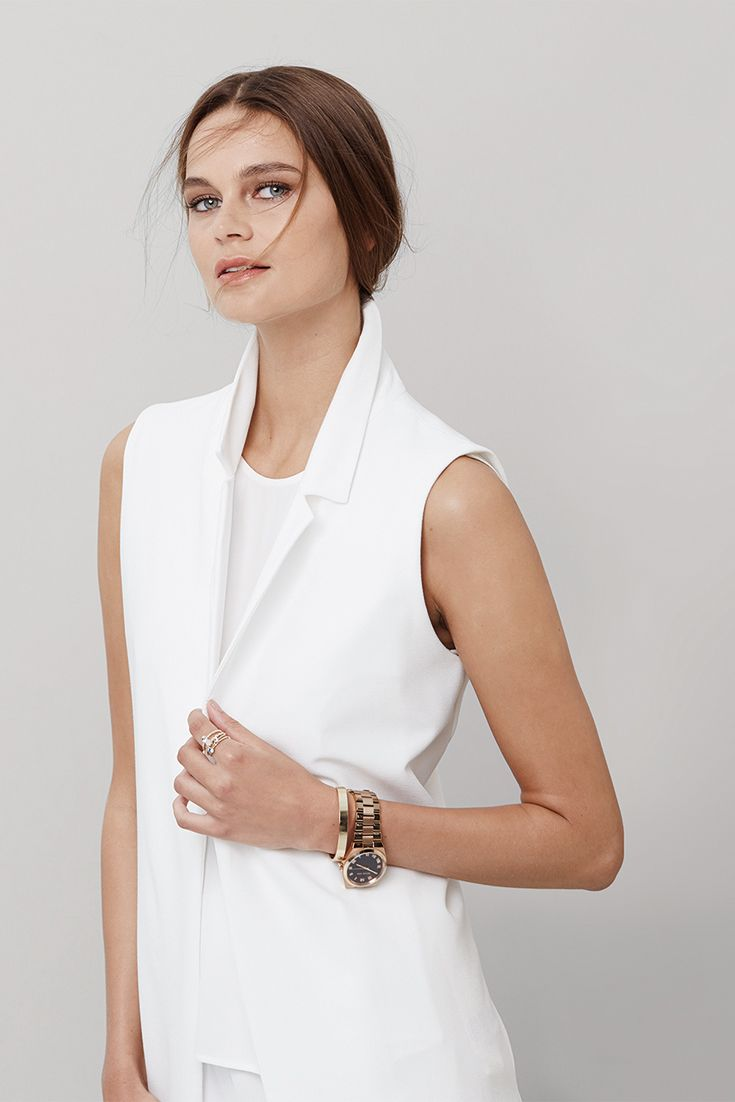SS15 trend, the sleeveless blazer. #miladys  #whiteonwhite