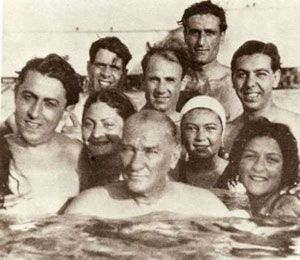 Atatürk, swimming with youth of Turkey in Florya, Istanbul, August 5th 1936