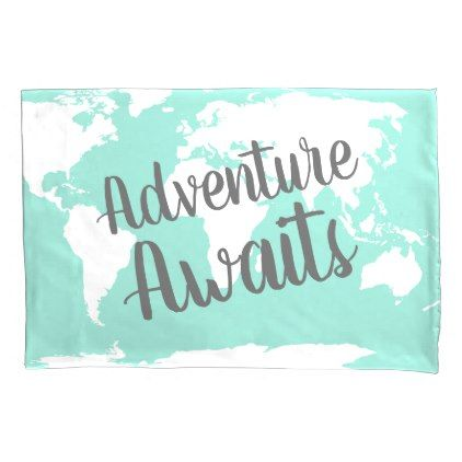 Adventure Awaits White World Map & Mint Pillow Case - trendy gifts cool gift ideas customize
