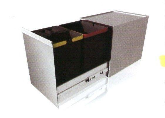 Pattumiera SYD14 apertura estraibile manuale  INOX  3 secchi