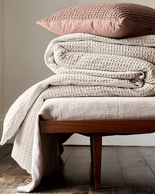 """Eileen Fisher Waffle-Weave Organic Cotton Bedding Collection; """"Aztec"""" and """"sea salt"""""""