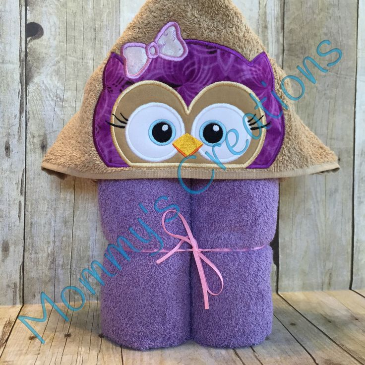 """Girl Owl Applique Hooded Bath, Beach Towel, Swim Cover Up 30"""" x 54"""" by MommysCraftCreations on Etsy"""
