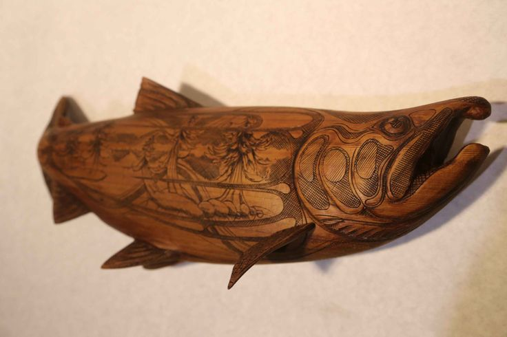 Pyrographic Cedar Coho Salmon by cohowood on Etsy