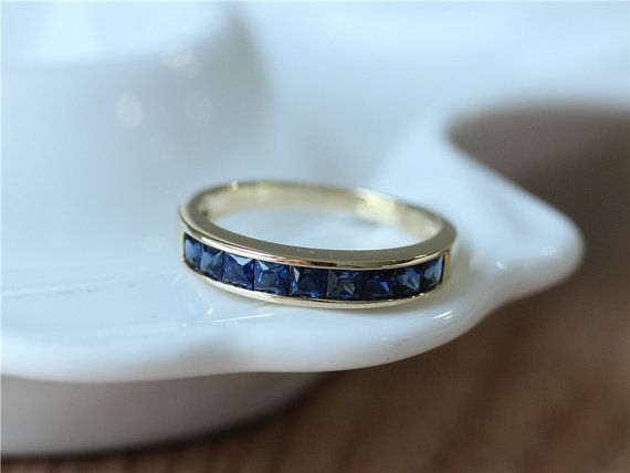14K Yellow Gold Blue Sapphire Band/Sapphire Engagement