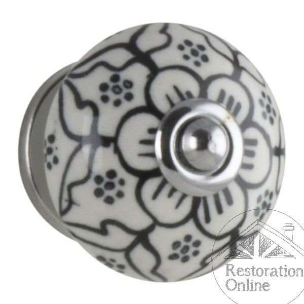 Cabinet Knob - Black and White Heritage Porcelain Handle