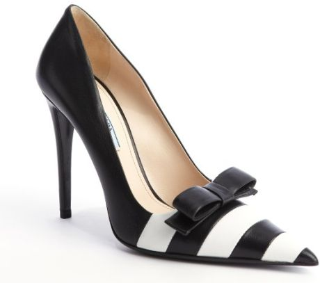 Prada White Black and White Striped Leather Bow Detail Pumps