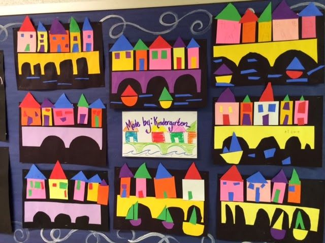Kinder students created a City scene collage this week using construction paper and shapes.... The Colorful Art Palette: Week 24 and 25 In the Art Room