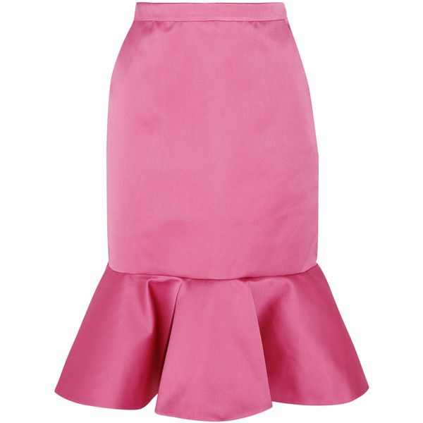 J.Crew Dante ruffled duchesse-satin skirt (4.643.000 IDR) ❤ liked on Polyvore featuring skirts, bottoms, юбки, pink skirt, j. crew skirts, frilled skirt, pink ruffle skirt and flounce hem skirt