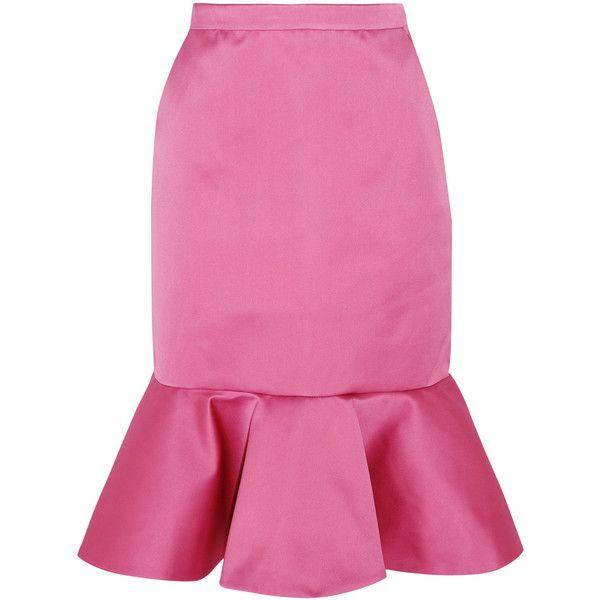 J.Crew Dante ruffled duchesse-satin skirt ($330) ❤ liked on Polyvore featuring skirts, pink, pink skirt, pink frilly skirt, j. crew skirts, frilled skirt and flounce hem skirt