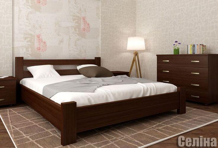 красивая и элегантная симпатична деревянная двуспальная кровать Селина…
