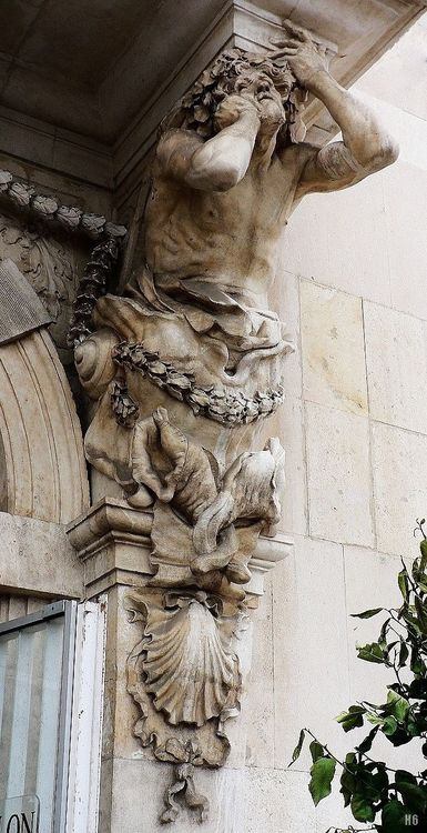 Atlantes. Pierre Puget. French 1620-1694. Marble main entrance Toulon City Hall in France.