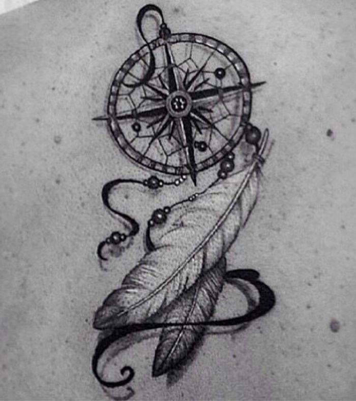 ein schwarzer tattoo mit einem kleinen schwarzen kompass und zwei schönen weiß…