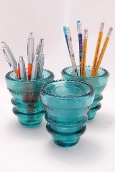 Vintage glass telephone Insulators as pencil holders.for desktop cottage style home decor; Upcycle, recycle, salvage, diy, repurpose! For ideas and goods shop at Estate ReSale & ReDesign, Bonita Springs, FL