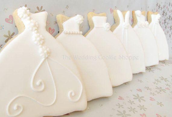Wedding Dress Bridal Shower Cookie Favors by WeddingCookieShoppe, $50.00