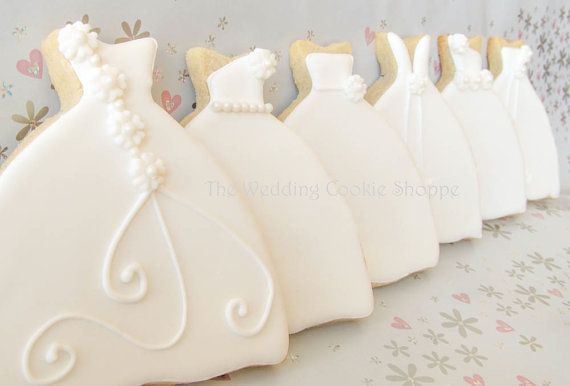 Wedding Dress Bridal Shower Cookie Favors by WeddingCookieShoppe, $50.00